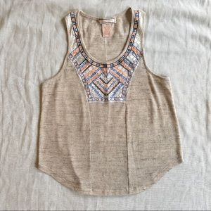 Flying Tomato BOHO Embroidery Loose Fit Tank M